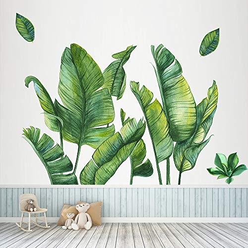 Grüne Bananenblatt tropische Pflanzen Wandaufkleber, Abnehmbare Baum Blätter Tapete Wandtattoo, DIY Wandkunst Dekor Wohnaccessoires Wandsticker für Schlafzimmer Wohnzimmer Kinderzimmer, 115 x 98 cm