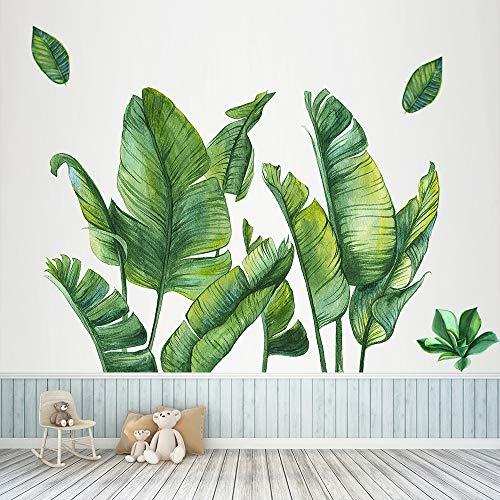 Grüne Bananenblatt tropische Pflanzen Wandaufkleber, Abnehmbare Baum Blätter Tapete Wandtattoo, DIY Wandkunst Dekor Wohnaccessoires Wandsticker (Banana Leaf B)