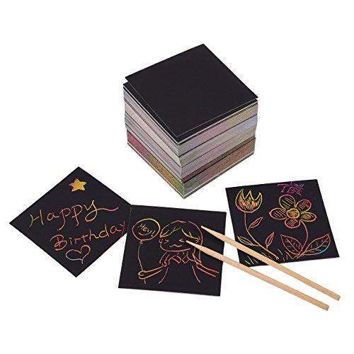 Rainbow Scratch Art Mini notities met 2 styluspennen - 250-Pack Rainbow Art Scratch-Off Papieren, Zwarte Doodle Pad met Regenboog achtergrond