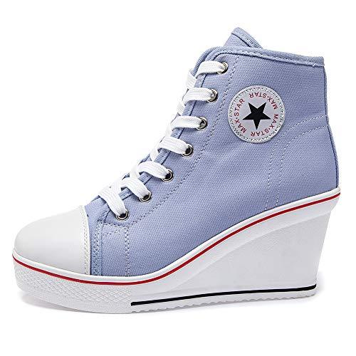 Qimaoo Damen Keilabsatz Schuhe Mädchen Canvas Sneaker Schuhe für Sport Freizeit - (EU 41=CN 42, Blau-Canvas)