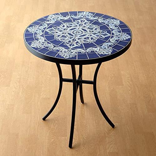 ガーデンテーブル タイル おしゃれ かわいい アイアン 円形 丸型 ガーデン 丸テーブル ガーデンモザイクテーブル ブルー&ホワイト