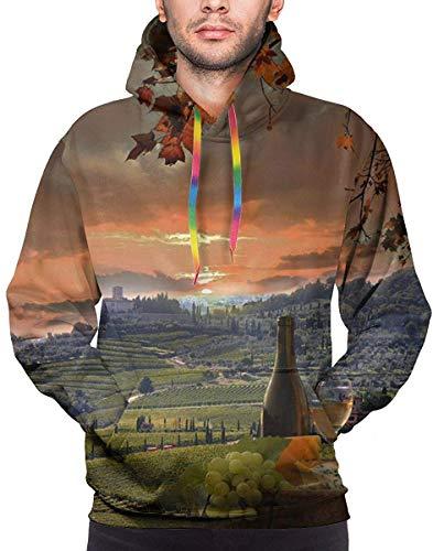 Axige888 hoodie voor heren, witte wijn met Barrel On Vineyard in Chianti, Tuscany, Italië sweatshirt