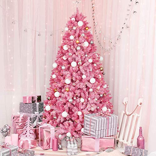 OasisCraft Unlit Pink Christmas Tree, 6.5ft Pink Christmas Tree Fir Artificial Pink Tree Christmas with 1330 Branch Tips, Unlit