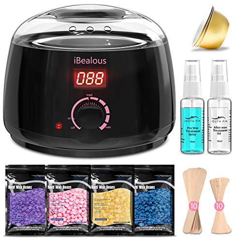 Waxing Kit Wax Warmer, iBealous Wax Warmer with 4 Bags Painless Hard Wax Beans Hair Removal Kit with Digital Display to Easy Use