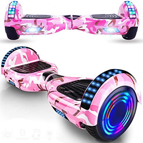 """Magic Way Hoverboard - 6,5"""" - Bluetooth - Moteur 700 W - Vitesse 15 km/h - LED - Skateboard Électrique Auto-équilibrée - pour Enfants et Adultes (Rose Camouflage LED)"""