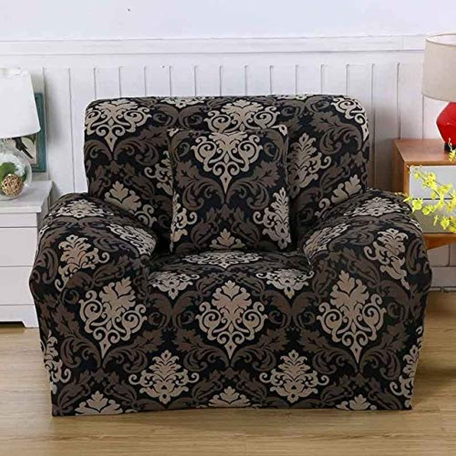 Modern Removable Sofa Covers Elastic Tight Wrap All-Inclusive Slip-Resistant Sofa Cover Spandex Elastic Floral Print Sofa Covers   bluee, Single seat
