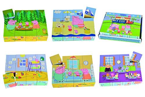 Eichhorn 109265708 - Peppa Pig - Bilderwürfel 16x12cm groß, 6 Motive mit 12 Bausteinen, inkl. 6 Vorlagen, FSC 100% Zertifiziertes Birkenholz