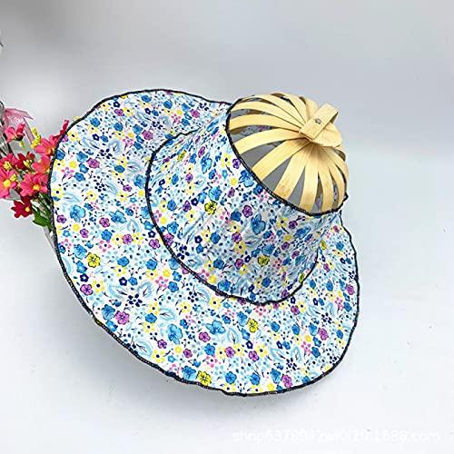 Alexny Sombrero para el Sol, joyería multifunción, Abanico Plegable, Sombrero de Viaje, Sombrero para el Sol de Verano para niña
