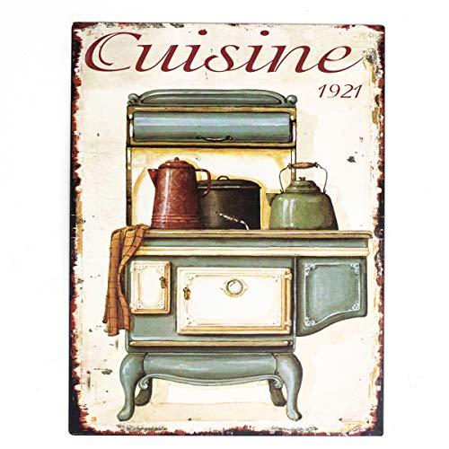Antikas - Cartel de Chapa como Esmalte - Placas Nostalgia - decoración Cocina - letreros de Pared - Estufa Vieja de Cocina - imagenes de Pared Vintage