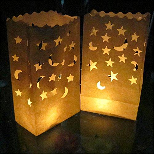HuntGold 10pcs ignífugo retardante farol vela bolsa Luz Soporte Papel Fiesta Boda cumpleaños Decoración de Navidad, beige, Star Moon