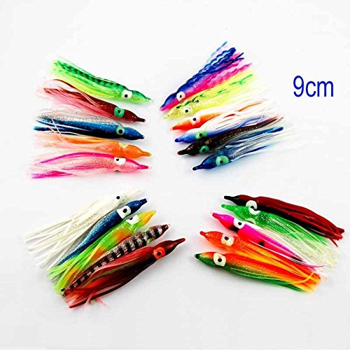 100 Pack 9CM Bright Multicolor Soft Octopus Squid Skirts Trolling Fishing Lures Baits for Saltwater Fishing