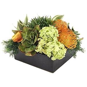 9″ Hx14 W Bromeliad & Protea Silk Flower Arrangement -Green/Orange
