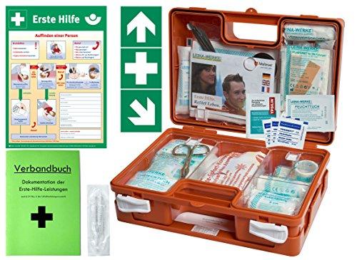 Erste-Hilfe-Koffer BG -Komplettpaket- für Gewerbe DIN/EN 13157 - Kleiner Betriebsverbandkasten von WM-Teamsport - inkl. Aushang & 1. Hilfe Aufkleber
