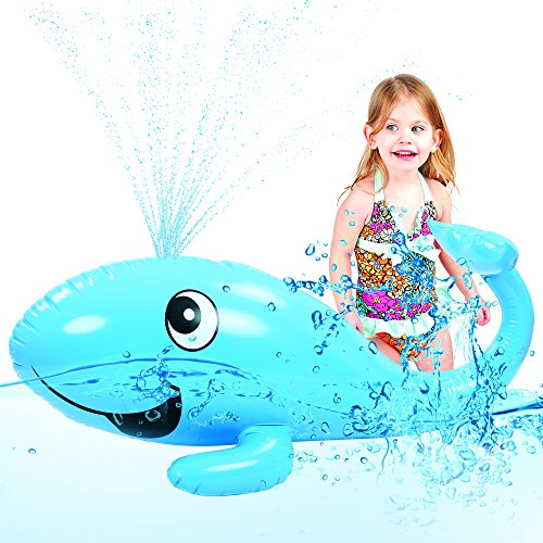 Kids Water Sprinkler Toy: 2 in 1 Giant Inflatable Whale Splash Fun For Outdoor Games | Pool Float For Boys & Girls | Great for Garden / Backyard Activities & Parties