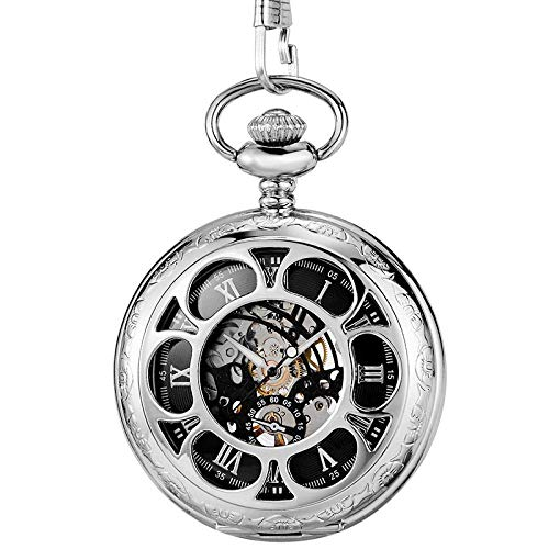 LXDDP Reloj de Bolsillo y Cadena Oro Dorado Mecánico Mano Viento Relojes de Bolsillo Esfera numérica Romana Azul Reloj mecánico Flip Watchmen