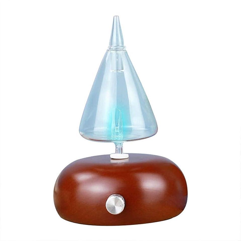 フォーマル腹噴出するアロマテラピーマシン、ガラスエッセンシャルオイルディフューザー、超音波加湿器、ウッドグレインアロマテラピーディフューザーマシン、LEDライトを変える7色