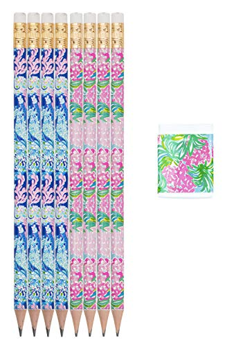 Lilly Pulitzer Assorted Wooden Pencil and Eraser Set, Desk Supplies Set Includes 8 Graphite Pencils and Extra Eraser, Turtle Villa/Pineapple Shake