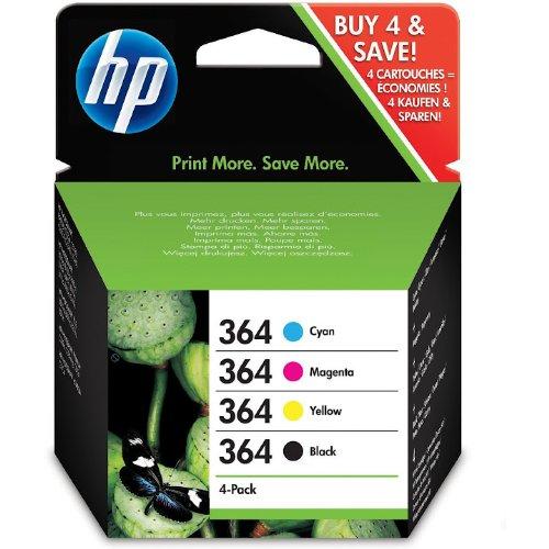 Originele 4 HP364 originele inktcartridges voor de HP DeskJet 3070A, Photosmart All-in-One Printer, Photosmart eStation, Photosmart Premium/Premium Fax, Photosmart 5510/5515/6510/7510, Photosmart B8550, Photosmart C5300/6300 printer