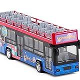 LXWM ダブルデッカー オープントップ 観光バス シミュレーションバス モデル 1:48 サウンド & ライト プルバック おもちゃカー パープル