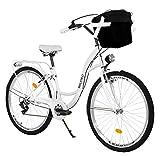 Milord. Bicicletta Comfort Bianco a 7 velocità da 28 Pollici con cestello e Marsupio Posteriore, Bici Olandese, Bici da Donna, City Bike, retrò, Vintage