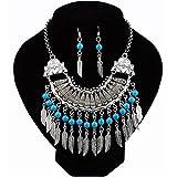 JIAG, conjunto de joyas de personalidad para mujer, bohemia, turquesa, borla, pendientes de gota, gargantilla étnica, Aleación, azul, Tamaño libre