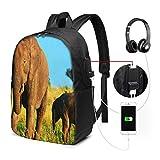 WEQDUJG Mochila Portatil 17 Pulgadas Mochila Hombre Mujer con Puerto USB, Elefantes Africa Mochila para El Laptop para Ordenador del Trabajo Viaje
