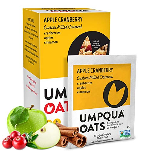 Umpqua Oats | All Natural, Premium Oatmeal Packets | No Mush, Custom Milled | Non-GMO (Apple Cranberry, 12 Packets)