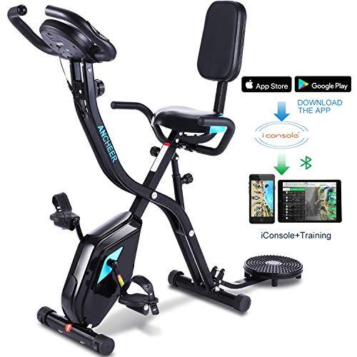 Profun Bicicleta de Fitness Plegable con Disco de Deporte para los riñones, Bicicleta de Ejercicio en el Interior, 10 Niveles de Resistencia magnética y Asiento Amplio y cómodo