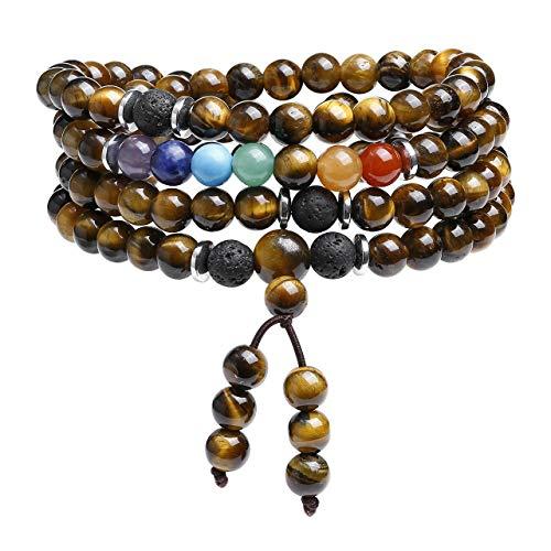 CrystalTears 108 Mala Prayer Beads Wrap Bracelet Necklace Natural Tiger Eye Stone Bracelet Necklace 7 Chakra Reki Healing Crystal Yoga Meditation Multilayer Gemstone Bracelets for Women Men
