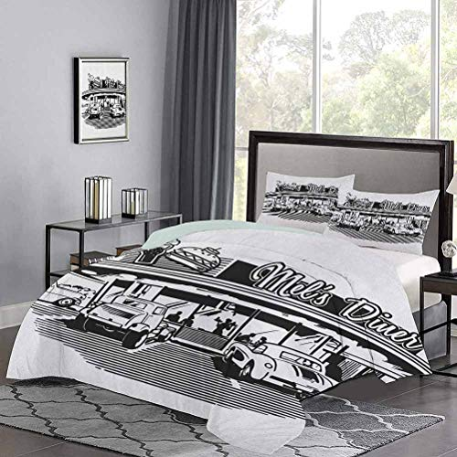 UNOSEKS LANZON Duvet Cover Nostalgic Illustration of Retro Diner Restaurant with Vintage Cars Back in Fifties Modern Simple Quilt Cover Enjoy a Great Night's Sleep Black White, Twin Size
