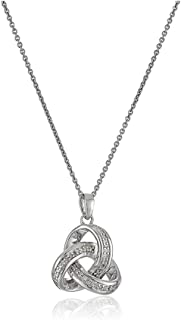 Jewelili Sterling Silver 1/10cttw Natural White Diamond Love Knot Pendant Necklace, 18