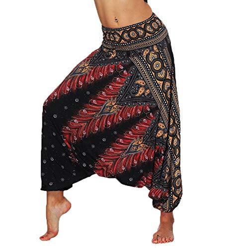 Lcoco&Dream Women's Drop Bottom Elastic Waist Loose Fit Baggy Gypsy Hippie Boho Yoga Harem Pants Brown