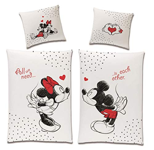 Tex idea Wende-Bettwäsche Set Disney Classic Mickey und Minnie Mouse in Love Größe 135 x 200cm 80 x 80cm 100% Baumwolle Weiss Rot Partner-Bettwäsche (4-TLG)