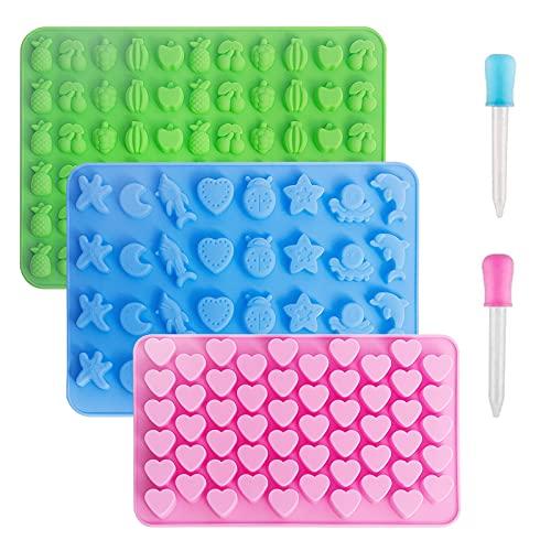 Vpqnee - Paquete de 3 moldes de silicona para chocolate, con forma de corazones pequeños, frutas, animales marinos y 2...