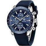 BENAYR Orologio Uomo analogico al quarzo cronografo Moda Sportivo orologio da polso da uomo 30M impermeabile Elegante Regalo per Uomo (Blu 3)