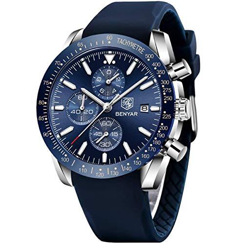 BY BENYAR Orologio Cronografo da Uomo Movimento al Quarzo Cinturino in Silicone Moda Sportivo Watch 30M impermeabile Elegante Regalo per Uomo