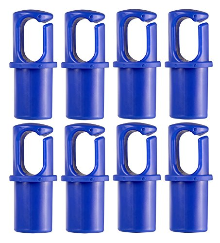 Upper Bounce Universal Trampoline Pole Cap Enclosure Net Hook Fits for 1 or 1.5 Diameter Pole - Set of 8 - Blue