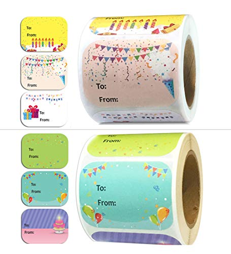 Happy Birthday Present Stickers 1.5 x 2 Inch Happy Birthday Labels - 300 Pcs Happy Birthday Stickers for Birthday Party Favors 6 Designs