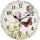VieVogue Orologio da Parete, Vintage Colorful Francia Parigi Stile Francese del Paese Toscano di Numeri Arabi Design Silenzioso Orologio da Parete in Legno Home Decor (Farfalla, 30cm)