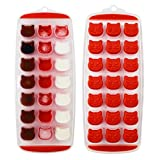 Ice Cube Tray, Candy, Chocolate Mold, Cat Ice Mold, Easy Release, BPA free, 2 Pack, Dishwasher Safe Red