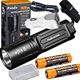 Fenix TK35 2018 3200 Lumen Ultimate Edition (TK35UE) USB Rechargeable Tactical LED Flashlight with 2 X 3500mAh battery,holster,USB charging cable, Car charger,battery case
