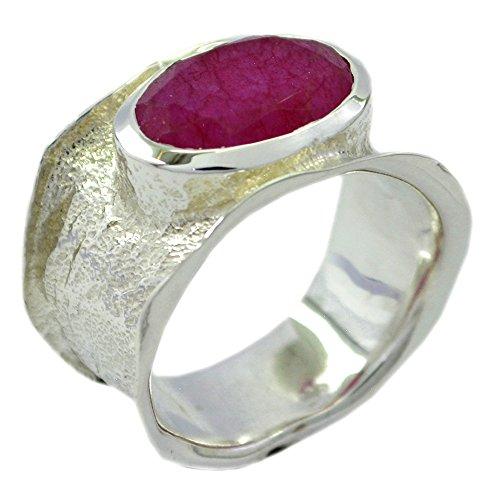 Gemsonclick Echte antike indische Rubin Ring Band 925 Silber ovale Form Lünette Stil handgemachte Größe Q