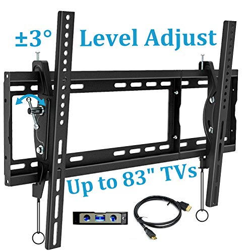 BLUE STONE TV Wall Mount Bracket, Tilt Mounting, 32-83 Inches with Max VESA 600X400 and 165lbs Loading, Fits 16', 18', 24' Studs Flat Screen TVs, Low Profile, HDMI Cable, Bubble Level Included