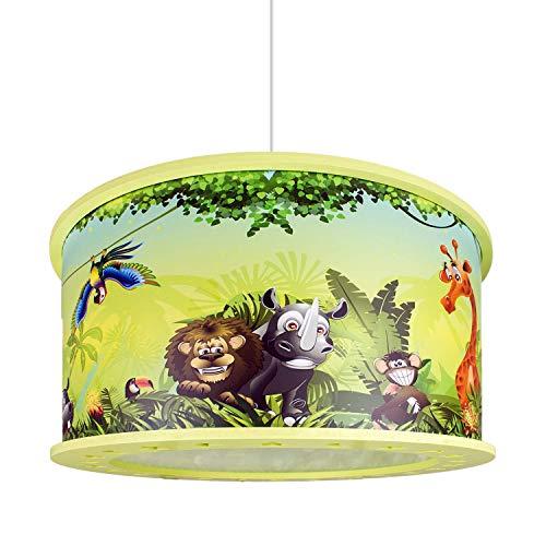 lampadario cameretta verde Elobra bambini Lampada plafoniera lampadario Wildnis Giungla