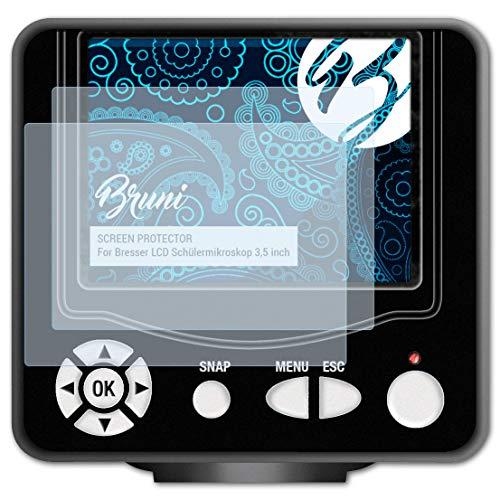 Preisvergleich Produktbild Bruni Schutzfolie kompatibel mit Bresser LCD Schülermikroskop 3, 5 inch Folie,  glasklare Displayschutzfolie (2X)