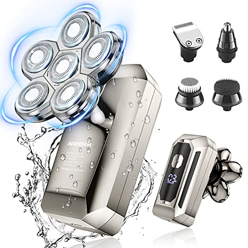 Head Shavers for Bald Men, BABONIR 6-in-1 6D Floating Electric Razor with LED display for gift, IPX7 Portable Travel Electric Shaver for Men with 1.5H USB C Faster Charge for Nose Hair, Beard and Hair