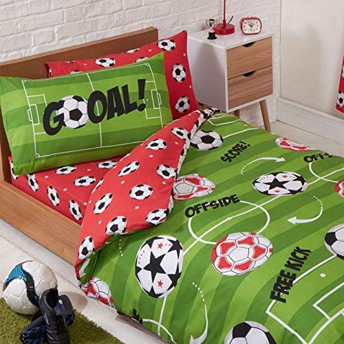 Price Right Home Juego de Funda nórdica y Funda de Almohada Fútbol Rojo Junior 120cm x 150cm