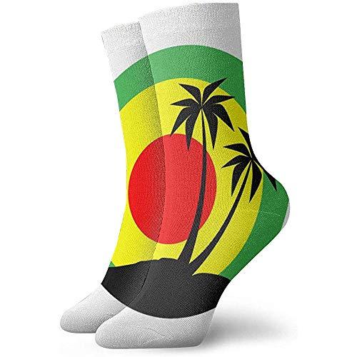 Gre Rry Femmes Reggae Emblem Black Pulms Jamaican Crew Chaussettes Moisture Control Thermal Socks