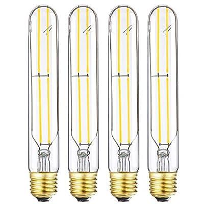 LEOOLS T10 Led Bulbs,6W Dimmable Tubular Bulb,60 Watt Incandescent Bulb Equivalent Edison Tube Vintage LED Filament Light Bulb,Soft White 3000K,E26,600LM,Clear Glass Cover,7.3in(185mm),4-Pack