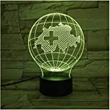 Illusion 3D Night Light Baby Switzerland Land Map Earth Lampe 3D Illusion Night Light LED Ampoule Multicolor Flash Fade Holiday Swiss Home Deocr Interior Design Woman (ZYJHD)